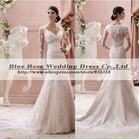 Vestido De Noiva 2015 Renda Sexy Long Sleeve Mermaid Wedding Dress Vintage Lace Wedding Dress Church Vestido De Casamento 2015