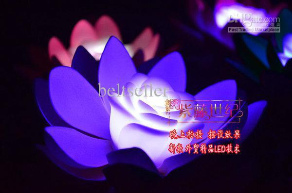 Artificial silk Lotus flower 7 Colors Changing LED Artificial Lotus floating water flower home fish tank Decor(China (Mainland))