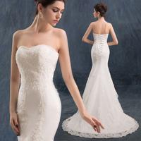 Bride wedding dress Formal dress slim waist and fish tail 2014 Fashion short trailing lace Tube top slim type vestidos
