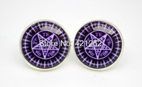 10pairs/lot  silver plated Black Butler kuroshitsuji  Sebastian earrings Glass photo earrings