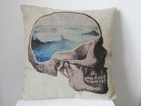"New Cotton Linen Square Throw Pillow Case Cushion Cover  pillowcase Shell Sea Skull 18"""