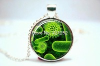 10pcs/lot Virus Jewelry  Biology Necklace  Science Jewelry  Virus Pendant  Virus 3 Glass Photo Cabochon Necklace