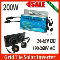 IP 67 200W Grid Tie Inverter,24V-45VDC 190V-260V AC,36V panel,MPPT function,Pure Sine wave on grid tie Micro inverter