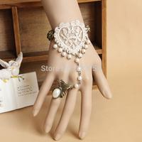 Vintage lace love pearl bracelet Bride wedding accessories Gothic Lolita