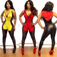 New 2014 V-neck Black Bodycon Jumpsuit Women Sexy Faux Leather Hooded Bandage Jumpsuit Bodysuit Macacao Feminino BP4116
