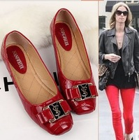 Fashion 2014 women's flats shoes plus size sweet japanned leather bow square toe shallow mouth flat-bottomed casual flats shoes