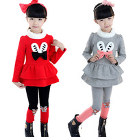 Hot selling New 2014 girls clothing sets winter, Cartoon full sleeve T shirts+leggings, 100% cotton, bow, Free Shipping