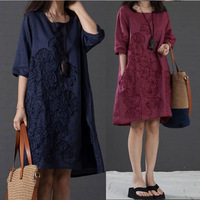Autumn&Spring dress women 2014 new fashion plus size women Casual style loose embroidery dress cotton long sleeve dresses