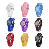Geneva Silicone Golden Crystal Stone Quartz Ladies/Women/Girls Jelly Wrist Watch