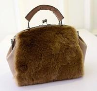 Fall/winter 2014 new Korean fashion rabbit fur bag double flashes ladies bag shoulder handbag baodan fashion handbags