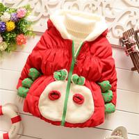 winter kid warm jackets kids girls children girls baby cartoon crab outwear coats Down 2014 KT556R