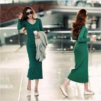 XXXL women plus size long dress Cotton knitted long sleeve V-Neck solid color vestidos 2014 new Winter Autumn dress for women