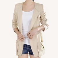 Spring Summer Women Korean Linen Small Suit , Big Size Thin Slim Plus Size Medium-Long Blazer xxxl Free Shipping