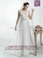 AWB3741  2015 New Arrival Romantic Princess A-Line Lace Chiffon  Wedding Dress Bride Dresses vestido de noiva Custom Size