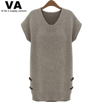 Casual Dress Plus Size Womens Short Sleeve O Neck Knit Female Dress 2014 Autumn New Arrival Loose Ladies Clothing Online W00159