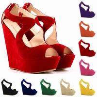 2014 women sex sandals Platform wedge Sandals ladies high heel Sandals suede peep toe sandalia anabela feminina us 4.5-10.5