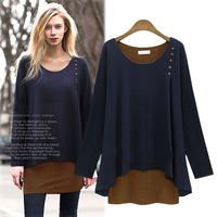 Casual European Plus Size Patchwork Women Tops 2014 Newest Long Sleeve O-neck Cotton Autumn T Shirt 1442