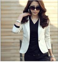 2015  New Fashion Autumn Casual Blazer Jacket Women Slim Wave  Single Button Outerwear Suit Women Coat
