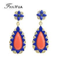 New Dangle Earrings Elegant Orange Brincos Bijuterias For Women Luxury Designer Jewelry