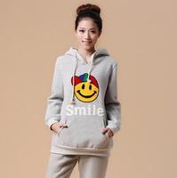 2014 Autumn Winter Maternity Coat Set Thicker Fleece Pregnant Women Hoodies Embroidery Cartoon Smiley Warm Cotton Sweatshirts
