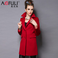 Luxury fashion clothing 2014 outerwear medium-long woolen outerwear women's autumn and winter overcoat