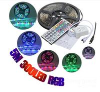 Hot 5M RGB 3528 LED Strip Lights Waterproof  IP65 12V 300led Strip 44key Remote 2A 12V Transformer