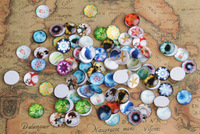 50PCS Fashion Round Mixed Photos Domed Glass Cabochon Cover 16mm #26682