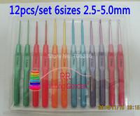 12Pcs/Set 6 Sizes 2.5-5.0mm Multicolour Plastic Aluminum Crochet Hooks Knitting Needles & Knitting Tools