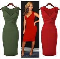 2014 New European And American Red/Green Women's Summer Sleeveless V-neck Empire Waist Dress Women's Dress Sexy Draped Dress
