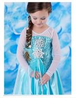 2014 Girls Frozen Party Dresses Baby Queen Elsa Anna Dress Sequin Princess Dresses Lace Flower Dress Free Shipping