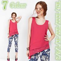 2015 Summer women casual shirts, O-neck sleeveless solid Asymmetric falbala chiffon shirt blusas,plus size XXXL/4XL vestido