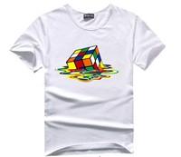 Women Magic cube Printed T Shirt Spring  Women Tees Short  sleeve O-Neck White Cotton Fashion Female t shirt 2015 New T38