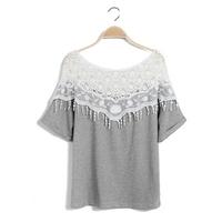 2015 New Korea new sweet lace openwork hand-crocheted flowers shawl collar bat sleeve long t-shirt woman