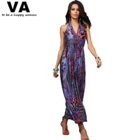 Plus Size Women Dress Sleeveless Peacock flower Printing V Neck Woman Dress 2014 Sexy Maxi Dress On Sale M L XL 2XL 3XL W00146