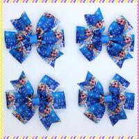 3.1'' Free shipping frozen elsa Ribbon Bows with hair clip headband headwear hairbow diy decoration wholesale OEM H3003