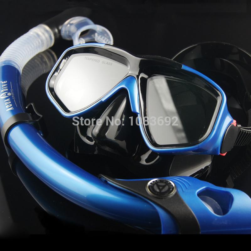 AQUA DIVE brand Scuba Diving Snorkeling Silicone Mask Set(Black black blue camouflage ) M230(China (Mainland))