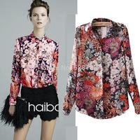 Women's Retro printing chiffon shirt, Fashion Casual Long sleeve Chiffon Blouse