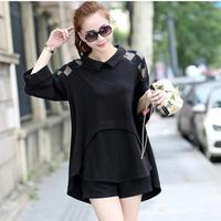 Fashion Ladies Casual Three Quarter Sleeve China Cheap Clothes 2014 Autumn Turn-down Collar Plus Size Women Shirt 1912