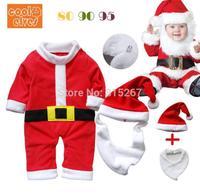 Baby Boy Girl Christmas Long Sleeve Rompers+Hats+Bibs 3Pcs Set Children Festival Clothing Suit Kid's Santa Suit Novelty Costume