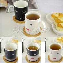 Smilling Face Moring Mug Magic Heat Sensitive Color Change Coffee Milk Tea Cup Mug Free Shipping