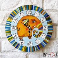 Retro Canvas Cartoon Cute  small elephant baby's room Needle Round Lock Wall art hang Quartz Art Clock Picture