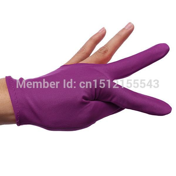 10pcs/lot Purple Nylon Elastic Wrist Billiards Snooker Gloves Cue Shooters Billiard Table Three Finger Left Right Hand(China (Mainland))