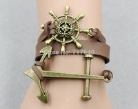 New men's pu leather bracelet,nautical anchor & rudder charm bracelet,the best gift,6pcs #024