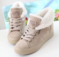 women platform winter snow boots female cotton-padded shoes platform elevator plus velvet thermal flat heel ankle boots