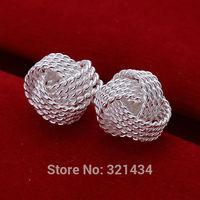 Hot Fashion  925 Sterling Silver womens women Female earrings hollow bead drop stud dangles girl friend birthday gift box KE013