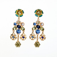 flower pearl rhinestone decent enamel party dangle earring stunning fetching fine bijou brinco woman gift