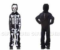 M-XL Black with White Skeleton Print Romper with Balaclava Halloween Carnival Vampire Costumes for 4-12Y Children Kids Boys 0098