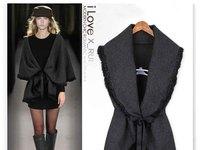 2014 New fall and winter fashion black women's cardigan wool sweater cape outerwear coat waistcoat sleeveless jacket