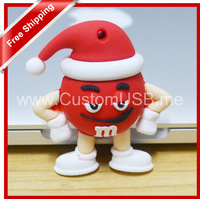 Free shipping Cartoon Christmas hat M&M beans USB Flash Drive 128MB 4GB 8GB 16GB 32GB USB Flash Drive USB Pen