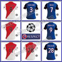 UEFA 2015 soccer jersey 14 15 KURZAWA DIRAR BERBATOV MOUTINHO red and white jersey 2015 AS Monaco maillot Away Blue UCL+Respect